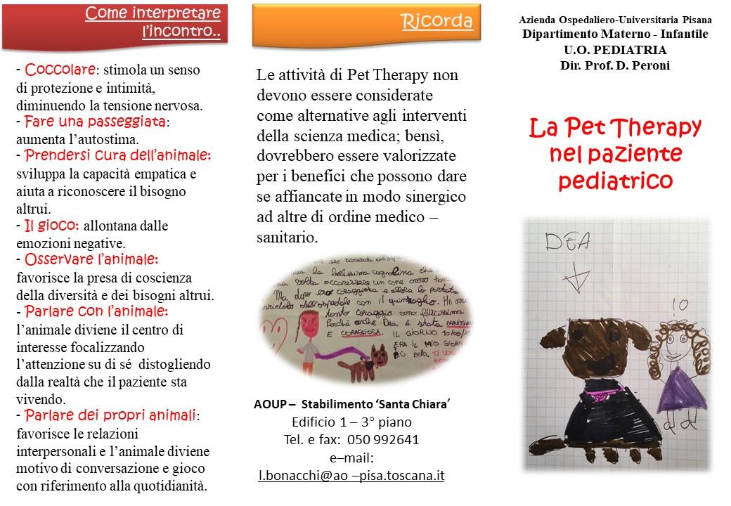 Brochure di un progetto pet therapy all'ospedale