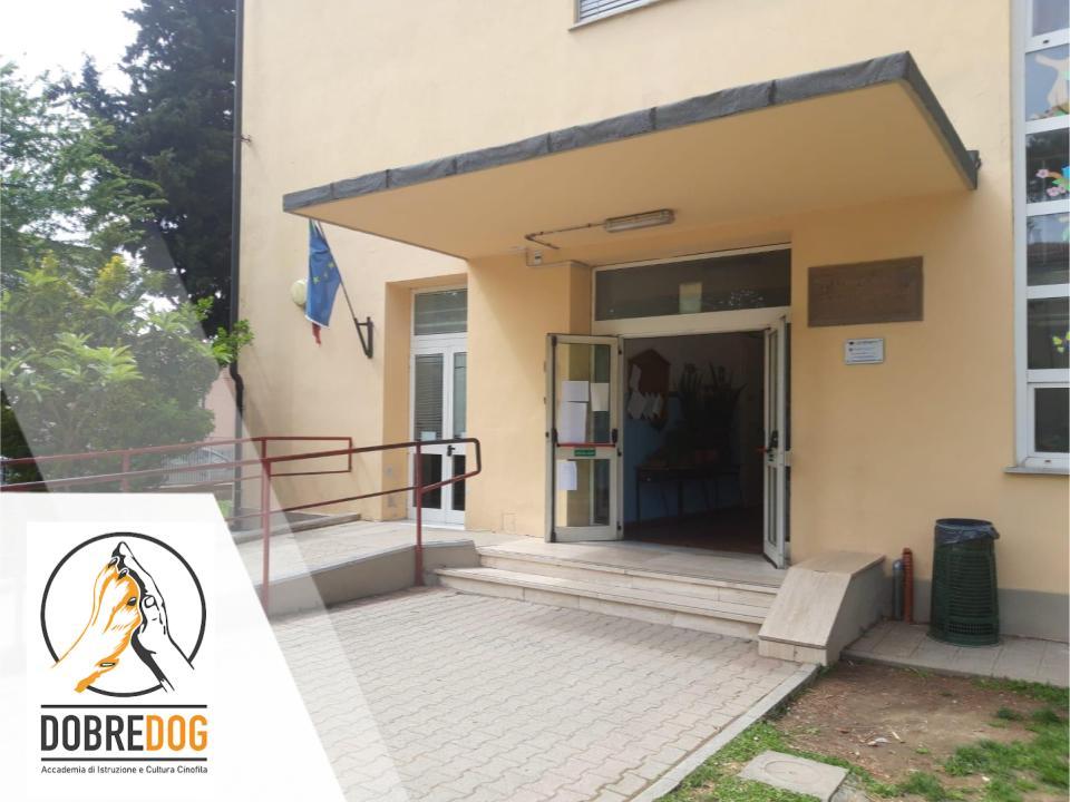 Ingresso scuola elementare in occasione del Progetto Pet Therapy - IAA Interventi assistiti per gli animali del centro cinofilo Dobredog